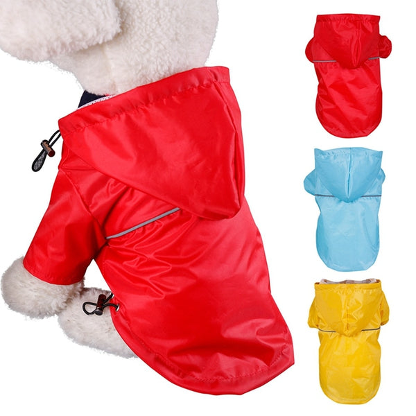 Waterproof Primary Color PU Dog Raincoat with Hood for Small and Medium Dogs (Various Colors & Sizes)