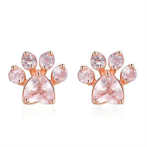 Paw Design Pink Stone Rose Gold Stud Earrings Gift for Dog Lover Jewellery - dogsl1fe.myshopify.com - FREE SHIPPING - [variant_title] - Home of Top quality dog products & Accessories for dogs and dog lovers
