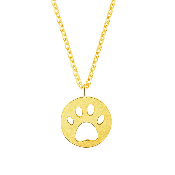 Dog Paw Cut out Design on Circle Pendant on Chain Necklace in Gold / Silver / Rose Gold Color - dogsl1fe.myshopify.com - FREE SHIPPING - [variant_title] - Home of Top quality dog products & Accessories for dogs and dog lovers
