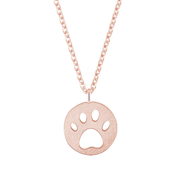 Dog Paw Cut out Design on Circle Pendant on Chain Necklace in Gold / Silver / Rose Gold Color - dogsl1fe.myshopify.com - FREE SHIPPING - Rose Gold Color / United States - Home of Top quality dog products & Accessories for dogs and dog lovers