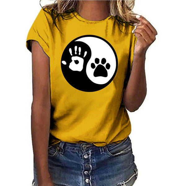Women's Paw and Heart Ying Yang Contrast Dog Design T-shirt (Various Colors)
