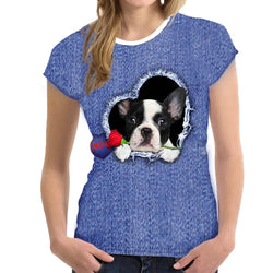 Women's French Bulldog in Heart Rose 'Love' Detail 3D Dog Design Faux Denim Style Frenchie T-shirt - dogsl1fe.myshopify.com - FREE SHIPPING - [variant_title] - Home of Top quality dog products & Accessories for dogs and dog lovers