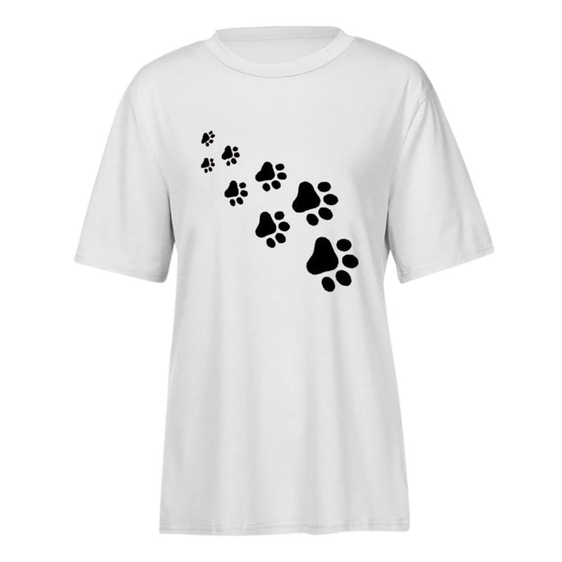 Women's Paw Print Trail Design Casual Dog T-shirt (Various Colors & Sizes) - dogsl1fe.myshopify.com - FREE SHIPPING - [variant_title] - Home of Top quality dog products & Accessories for dogs and dog lovers