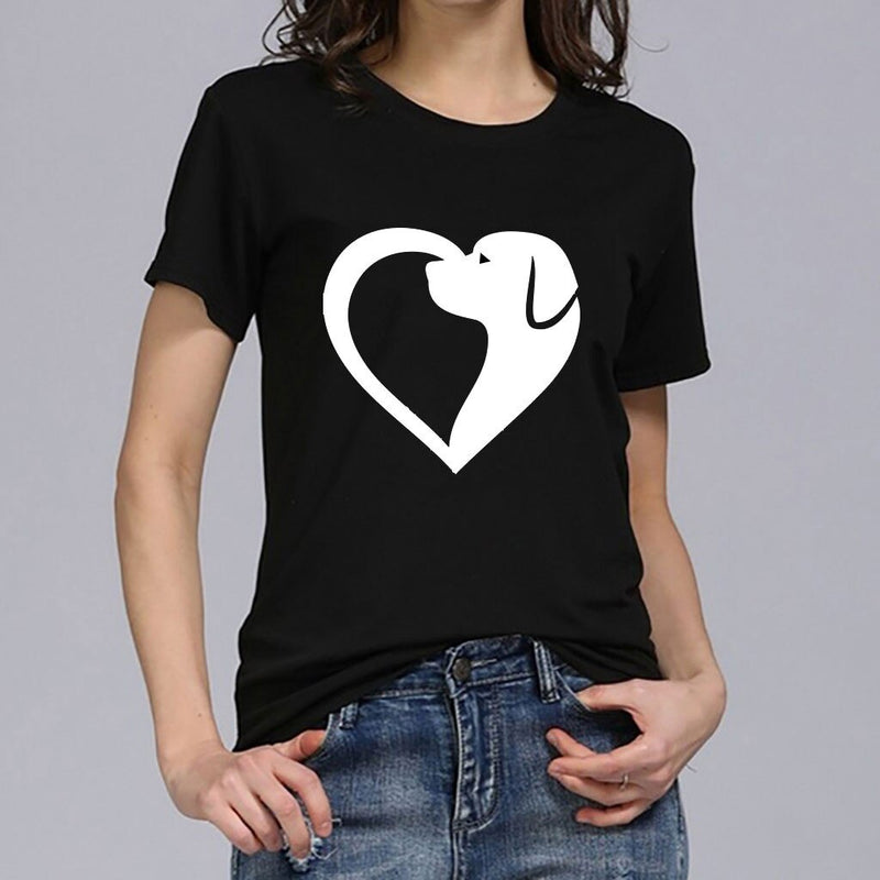 Women's Heart with Dog Design Print T-shirt (Various Colors)