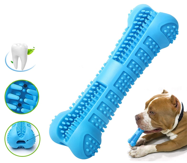 Rubber Dog Toothbrush Bone Chew Toy