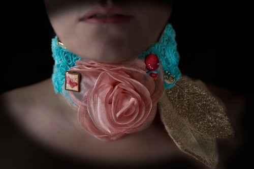 Pink rose on a bed of turqoise flowers neo victorian choker