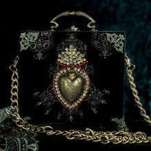 Load image into Gallery viewer, Gold Sacred Heart on black and gold velvet handbag