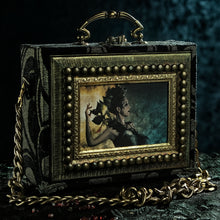 Load image into Gallery viewer, Black and gold brocade Kaos hand bag