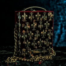 Load image into Gallery viewer, Joan of Arc on burgundy velvet hand bag