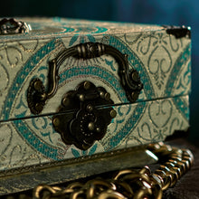 Load image into Gallery viewer, Turquoise and beige brocade Freyja handbag