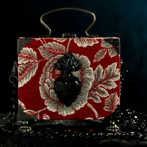 Red brocade with black sacred heart handbag