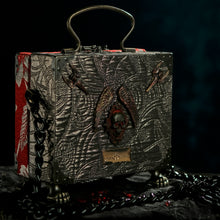 Load image into Gallery viewer, Red brocade with black sacred heart handbag