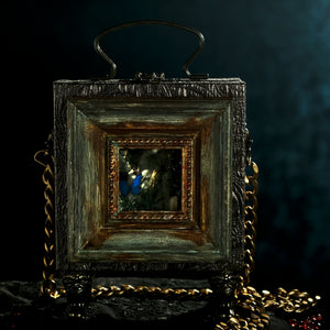 Framed Persephone's butterfly on bronze brocade