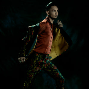 Flowers and leaves tailored trousers