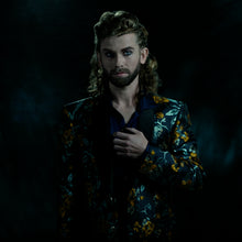 Load image into Gallery viewer, Tailored jacket in a blue and yellow brocade