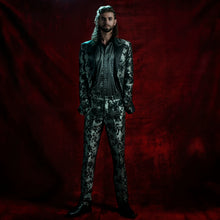 Load image into Gallery viewer, Tailored jacket in a silver and black brocade