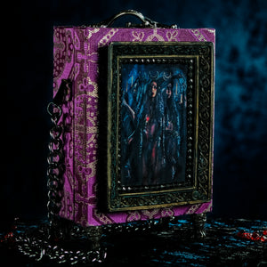 Purple and silver brocade Hecate hand bag