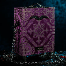 Load image into Gallery viewer, Purple and silver brocade Hecate hand bag