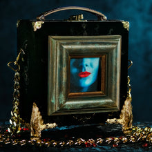 Load image into Gallery viewer, Framed Kali mouth on black velvet brocade hand bag