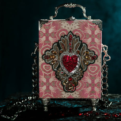Pink brocade sacred heart with rhinestones hand bag