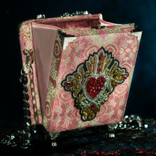 Load image into Gallery viewer, Pink brocade sacred heart with rhinestones hand bag