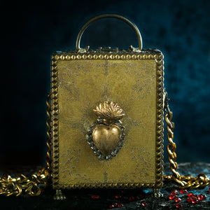 Gold brocade sacred heart with rhinestones hand bag
