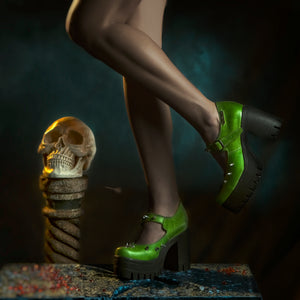 Bright green gothic shoes