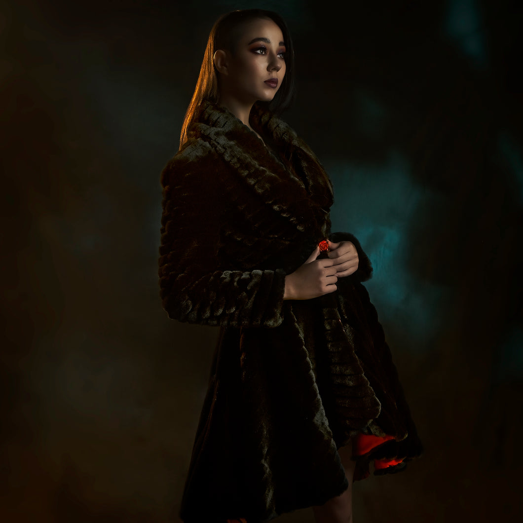 Black faux fuir coat with red rose button