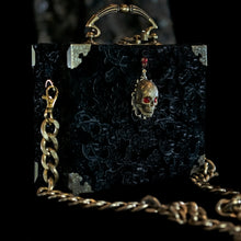 Load image into Gallery viewer, Black velvet skull hand bag