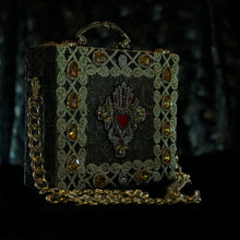 Load image into Gallery viewer, Red embroidered sacred heart on brocade with rhinestones hand bag