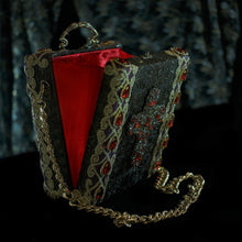 Load image into Gallery viewer, Red and clear rhinestones cross applique on bronze brocade hand bag