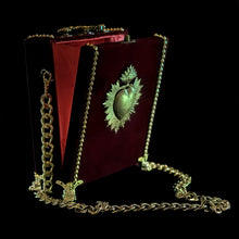 Load image into Gallery viewer, Gold sacred heart on velvet hand bag