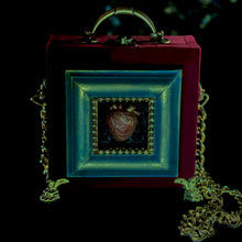 Load image into Gallery viewer, Resin heart in a blue frame hand bag