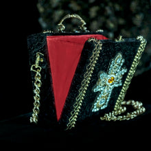 Load image into Gallery viewer, Yellow and clear rhinestones cross on black velvet hand bag