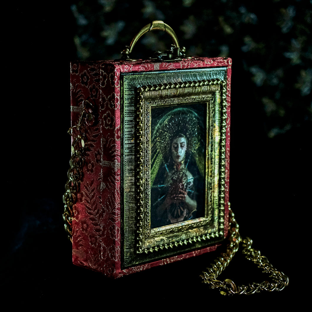 Virgin of Sorrows on red brocade hand bag