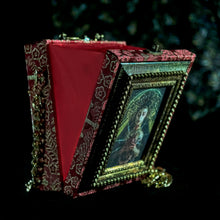 Load image into Gallery viewer, Virgin of Sorrows on red brocade hand bag