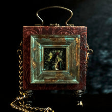 Load image into Gallery viewer, Framed Virgin of Quito on a red and cyan brocade