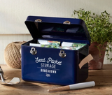 Atlantic Blue powder coated steel seed storage tin with leather handles.