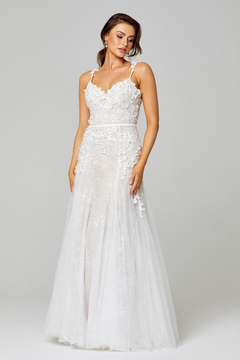 TC316 Hannah Gown - Nude/V.white