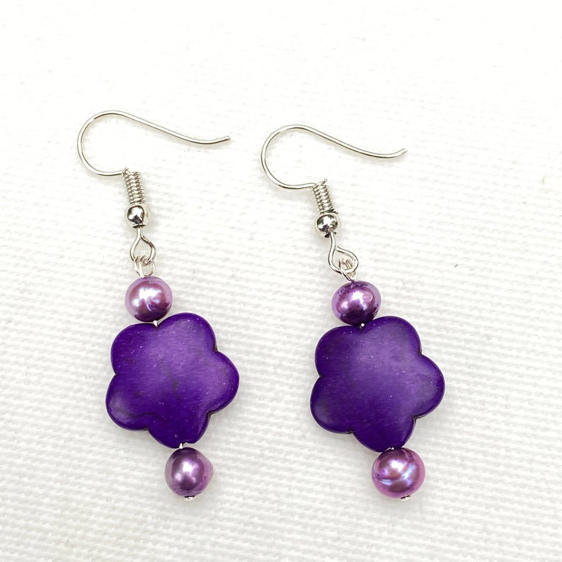Elise's Purple Flower Gemstone Earrings
