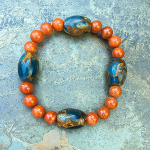 Men's Carnelian and Golden Aqua Quartz Gemstone stretch bracelet
