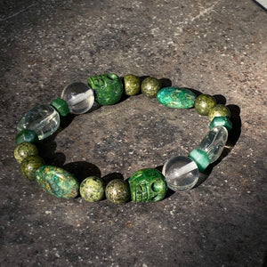 Men's Green Amethyst, African Jade, Clear Quartz & Chrysocolla Gemstone Bracelet