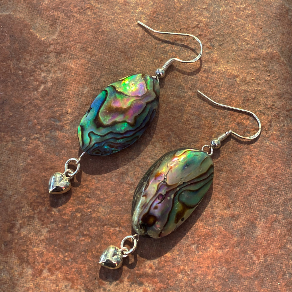 Abalone gemstone and Sterling Silver Heart Earrings