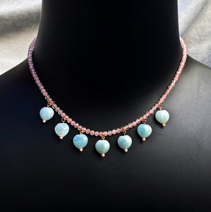 Aquamarine Hearts and Rose Quartz Gemstone with 14 kt rose gold fill Necklace