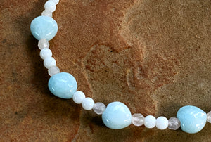 Women's Aquamarine, White Agate and Rose Quartz Gemstone Anklet