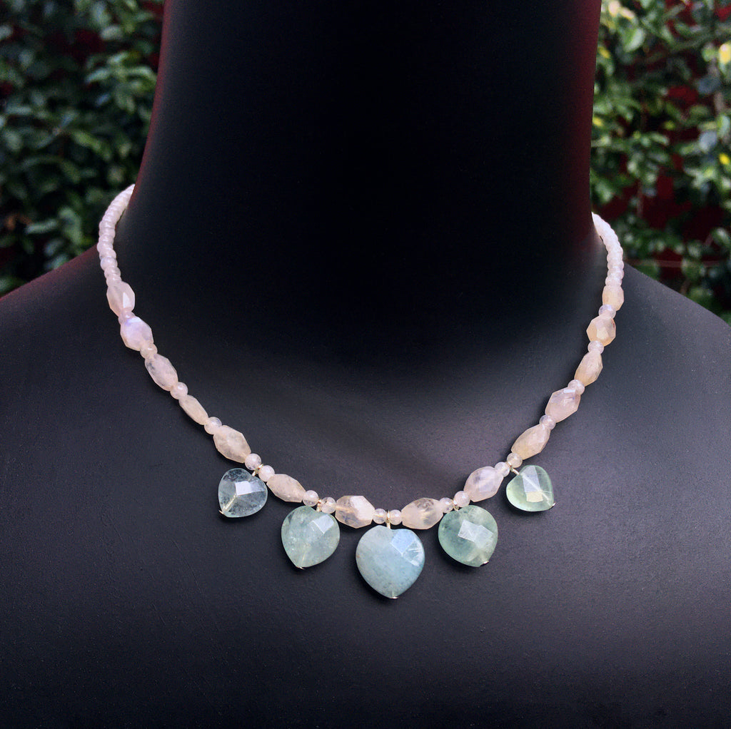 Womn's Aquamarine heart with Moonstone Gemstone and Sterling silver Necklace