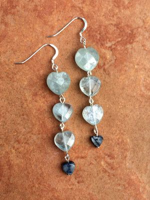 Women's heart Aquamarine & Sodalite sterling silver dangle and drop arring