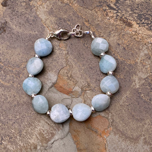 Women's Aquamarine hearts and sterling Silver lobster Clasp Bracelet