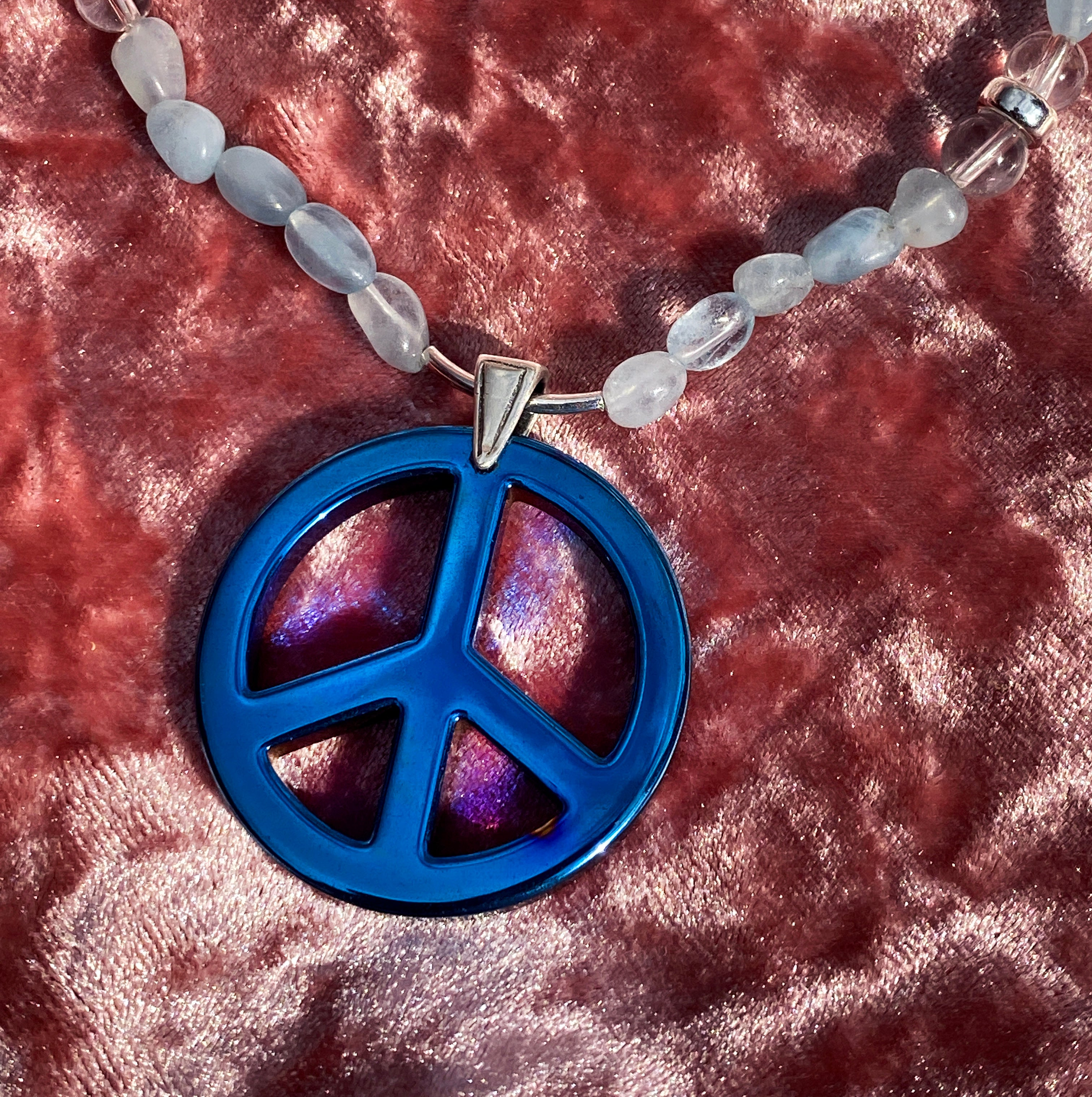 Men's Aquamarine Blue Hematite Peace sign Gemstone and sterling silver Necklace