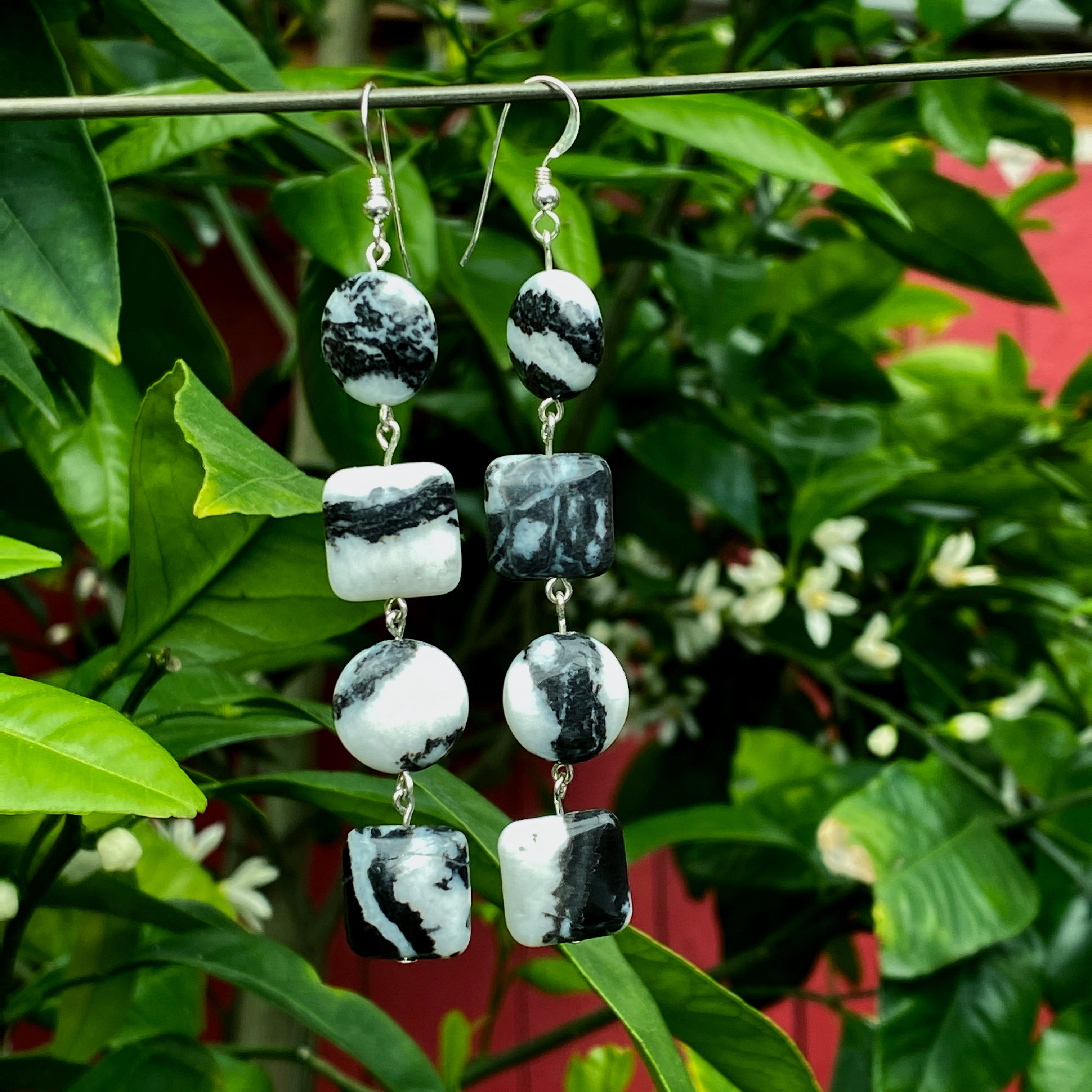 African Zebra Jasper and sterling silver long drop earrings